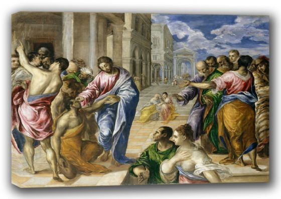 El Greco (Domenico Theotocopuli): Christ Healing the Blind Man. Religious Fine Art Canvas. Sizes: A3/A2/A1 (00669)